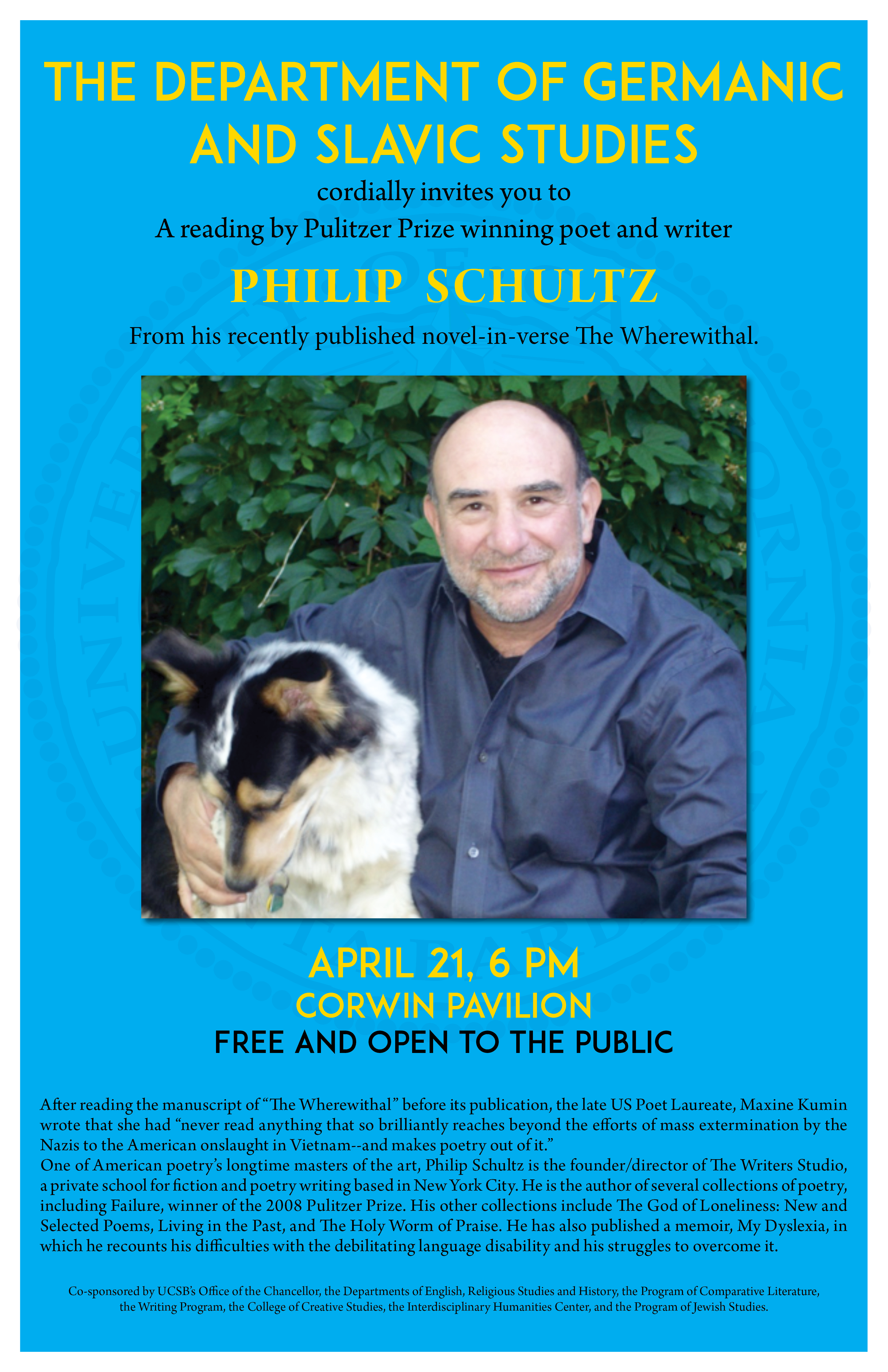 Reading by Pulitzer Prize-winning poet Philip Schultz