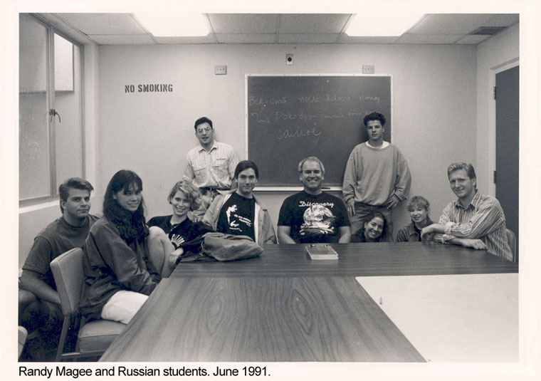 Randy Magee and Russian students, June 1991